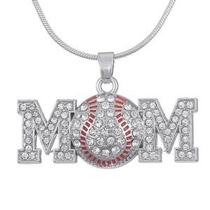 Jewelry - ⚾️Baseball Mom Silver Crystal Rhinestone Necklace